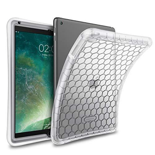 FINTIE Funda de Silicona para iPad 9.7' 2018/2017, iPad Air 2, iPad Air - [Honey Comb Series] Carcasa Ligera de Silicón Antideslizante y Antichoque Apta para Niños, Transparente Blanco
