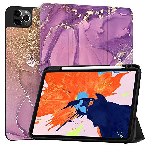 MAITTAO Case for iPad Pro 12.9 2020 4th Generation, Support Apple iPad Pencil Holder & Wireless Charging, Soft TPU Back Shell Stand Smart Cover Tablet Sleeve 2 in 1 Bundle,Marble 20