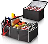 Perfect Life Ideas SUV Trunk Organizer for Car with Cooler - Foldable Automotive Organizers Large Removable Collapsible Bed Storage Holds up to 40 Lbs