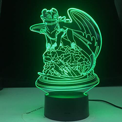 Cómo entrenar a tu dragón Dragon Toothless Fury 3D LED Night Light Lámpara de mesa Mesita de noche Decoración Regalo de niños