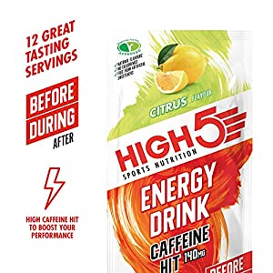 HIGH5 Energy Hydration Drink Caffeine Hit Refreshing Isotonic Mix of Carbohydrates Electrolytes & Caffeine (Citrus) (12 x 47g)