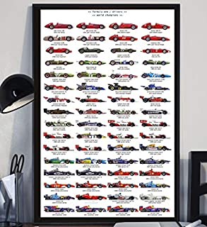 Aymsm Diversas apariencias Fórmula 1 Coche de Carreras póster de Dibujos Animados Lienzo Mural Imagen Sala decoración del hogar 40X60 sin Marco