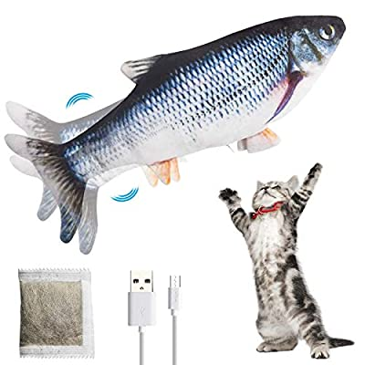 NaCot Cat Toy Fish Catnip,Electric Interactive Cat Movement Toy USB Dancing Fish for cats to play, bite, chew and kick (Grey)