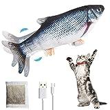 LorSou Juguetes eléctricos Peces, Gatos Movimiento Interactivo de Peces Juguetes con Hierba gatera USB Eléctrico para Que los Gatos jueguen, muerdan, mastiquen y pateen (Gris)