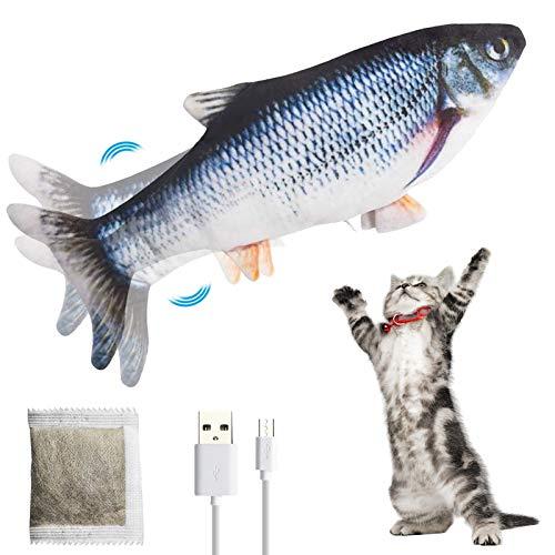 PiAEK Elektrisches Spielzeug Fisch, Bewegung Elektrisches realistisches Fisch Katzenminzenspielzeug, Fisch Kicker Spielzeug für Katzen, Kätzchen, Kätzchen (Black)