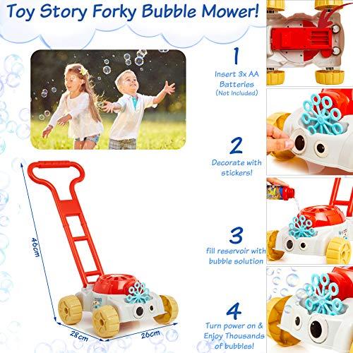 Disney Toy Story 4 Tagliaerba Macchina per Bolle di Sapone Giocattolo da Bambino con La Soluzione di Sapone Inclusa Regalo Bambini da 3 Anni | Giochi All'aperto, Tosaerba per Bambini