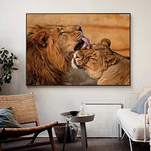 Impresión de Lienzo Cartel de Arte Amante de los Leones Salvajes Marrones Cavans Pintura Carteles de Animales africanos Impresiones Cuadro de Arte de Pared para la decoración del hogar