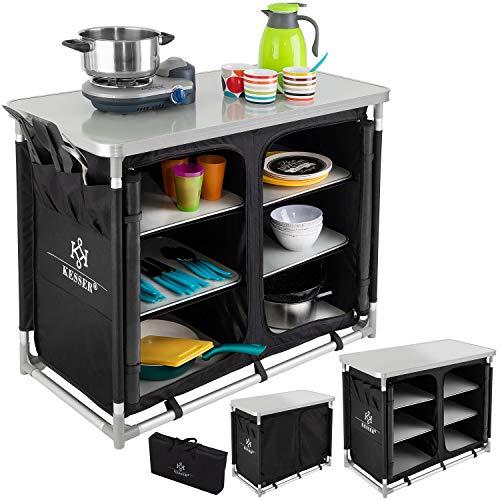 Kesser® Campingschrank, Campingküche mit Aluminiumgestell, Spritzschutz und Tragetasche Kocherschrank für Camping, Campingmöbel, Outdoor, schwarz/grau Typ F6