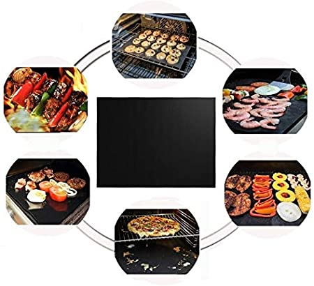 Set of 3 Non Stick BBQ Grill mats for Grills teflon mat Works on Gas Easy to Clean Can be Cut Oven Pellet Grill Heavy Duty Charcoal 44cm X 30cm Grill mat Reusable Grilling mats