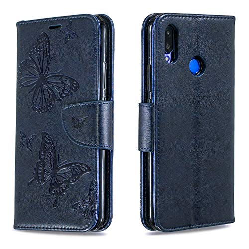 LMFULM® Hülle für Huawei P Smart Plus 2018 / Huawei Nova 3i (6,3 Zoll) PU Leder Magnet Brieftasche Lederhülle Handytasche Schmetterlingsprägung Standfunktion Ledertasche Flip Cover Dunkelblau