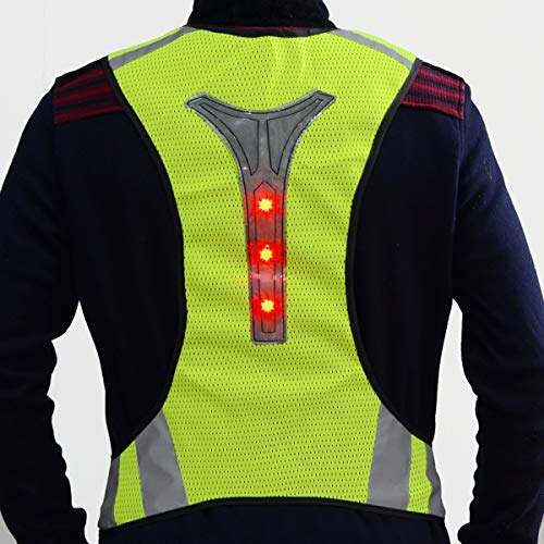 OUTERDO High Visibility Waistcoat, LED Reflective Vest Safety Vest with LED Reflective Stripes for Night Outdoor Traffic Activities Running,Cycling,Walking and Working