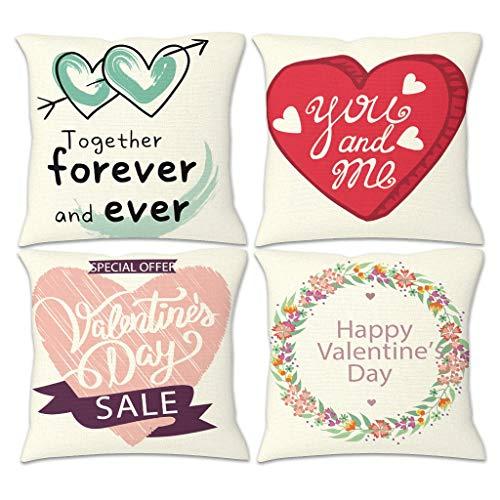 NC83 verpakking met 4 linnen sierkussens case modern kussensloop Valentijnsdag thema print bank kussen case voor bank bed decoratief - liefde