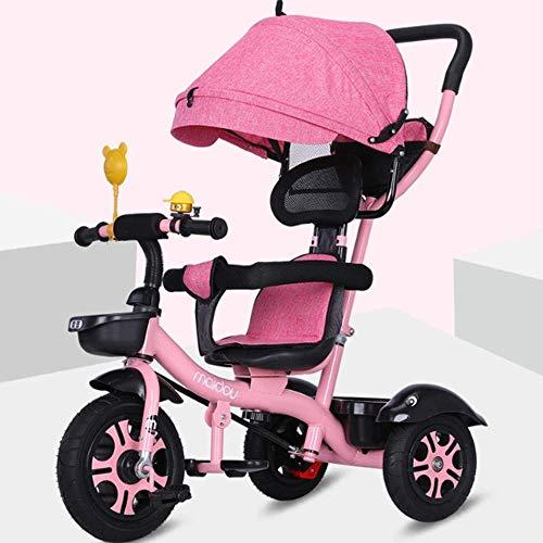 Del modelo de coche de los niños del triciclo 1-3-5 Años de Edad grandes de la bici del bebé Cochecito for niños Triciclo 3 ruedas del cochecito de dos vías de implementación de bicicletas con pedaleo