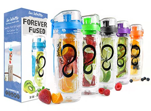 Live Infinitely 32 oz. Infuser Water Bottles - Featuring a Full Length Infusion Rod, Flip Top Lid,...