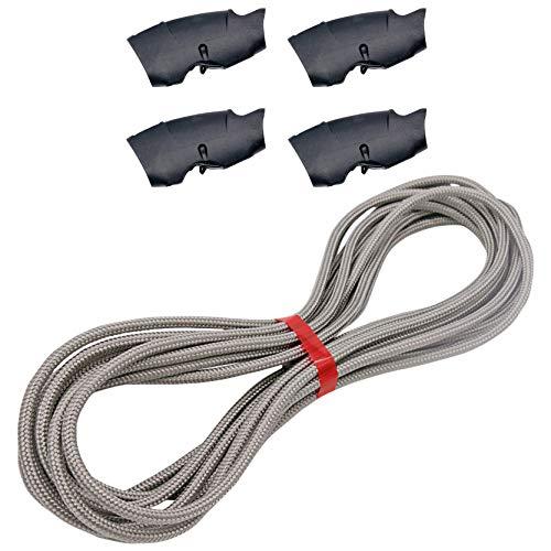 25m Sonnensegel Seil/Tauwerk grau/Silber 6mm Polyester inklusive 4 Seilklemmen