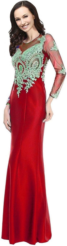 Kivary Sheer Long Sleeves Crystals Vintage gold Lace Mermaid Prom Evening Dresses