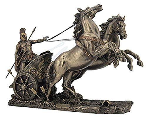 14.5' Achilles On Two Horse Chariot Statue Sculpture Figurine Troy Greek Decor