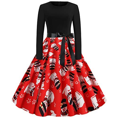 YBWZH Weihnachtskleider Damen Elegant Weihnachten Langarm Weihnachten 1950er Jahre Hausfrau Abend Party Abendkleid A-Linie Gestreift Weihnachtskleid Lustig
