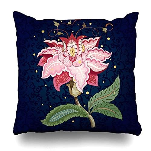 AlineAline Funda de almohada Swirl Motives Vintage India para Fantástico Oriente Hojas de Flores Zarros Árbol Oscuro Diseño Vida con Cremallera 45,7 x 45,7 cm