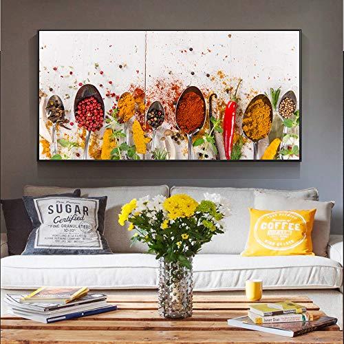 Soorten kruiden Canvas schilderij Kruiden Moderne muurschildering woonkamer keuken muurschildering decoratieve schilderkunst posters en prints frameloze schilderij 30X60CM