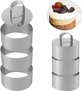 Falllea Juego de 6 anillos de cocina de acero inoxidable para tartas con prensa de alimentos para cocinar crumpetas, huevo...