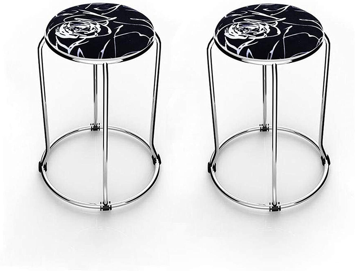 YCSD Sleek Minimalist Stainless Steel Stackable Stool Small Circle Stool Tea Table Fabric Stool Dining Stool (Set of 2) (color   03)