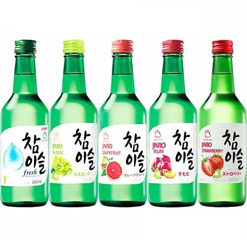 韓国焼酎 チャミスル 飲み比べセット 360ml×5本 fresh マスカット グレープフルーツ すもも ストロベリー 韓ドラ 韓国 ギフト プレゼント
