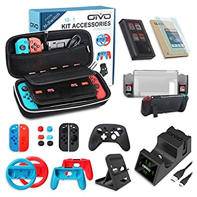 All in One Switch Accessories Bundle,OIVO Kit with Carry Case, Joy-con Controller Charging Dock,Switch Playstand,Game Case,Protective Case,Screen Protector,Grip and Steering Wheel for Nintendo Switch by OIVO