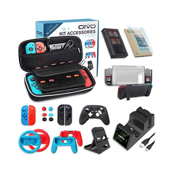 All in One Switch Accessories Bundle,OIVO Kit with Carry Case, Joy-con Controller...
