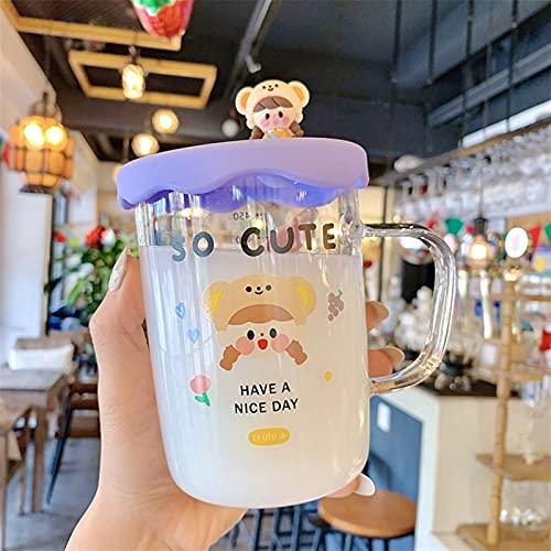 Taza de Agua con Tapa Botella de Agua de Cristal Linda con Tapa CUBIERA CULTADORA CULTIVA CUPAS DE Leche DE LA Mujer del Desayuno Botellas de Bebida del té (Capacity : 500ml, Color : 3)