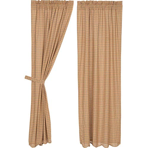 Pine Valley Quilts VHC Brands Millsboro Scalloped Panel Set of 2 84x40 Country Rustic Curtains, Tan