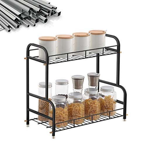 AOUMENGLY Spice Rack Organizer for Countertop, Large Capacity Stainless Steel Kitchen Counter Shelf for Kitchen Counter Organizers and Storage Bathroom Organizer Countertop Load 45lb