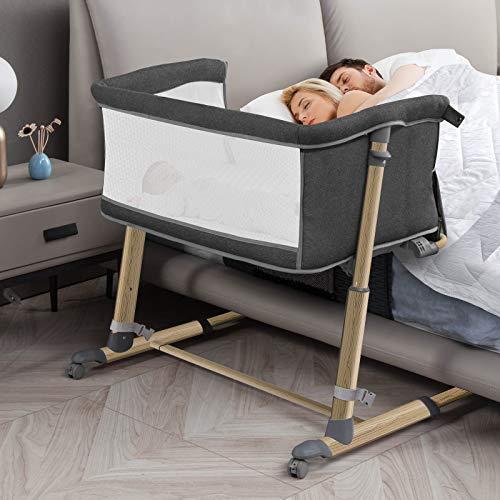 RONBEI Baby Beside Bassinet Bedside Sleeper for Bed Height 19' - 26.5', Wooden Pattern