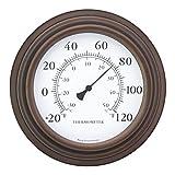 "Bjerg Instruments 8"" Decorative Indoor/Outdoor Patio Wall Thermometer (Bronze)"