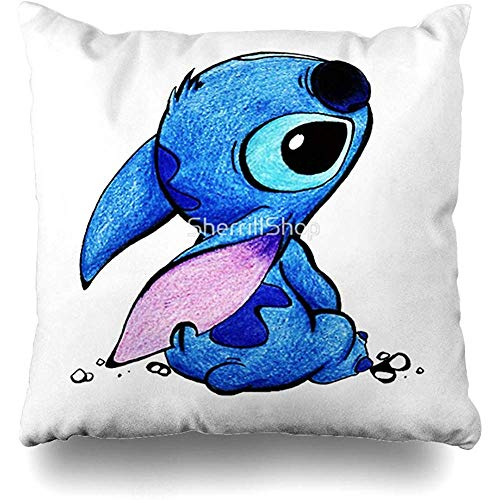 jonycm Funda de cojín Lilo Stitch Funda de Almohada Decorativa Square Home Throw Pillow Cover Decoración Funda de Almohada 45X45cm
