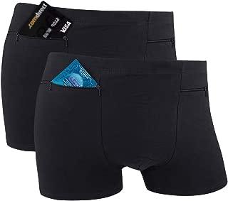Men's Pocket Underwear with 2 Secret Pocket, 2 Packs(Black)