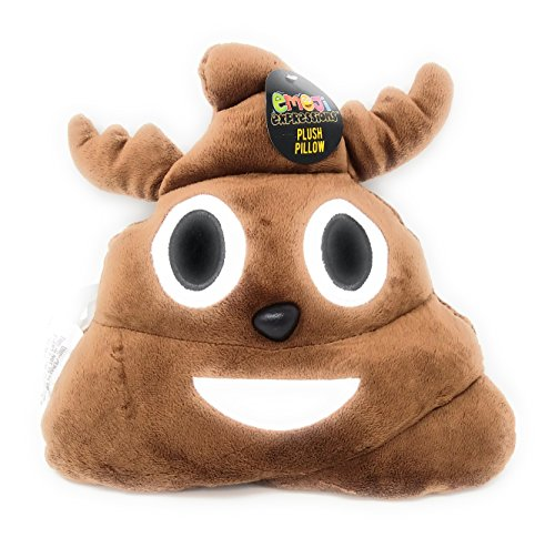 (Brown) - Reindeer Poop Emoji Christmas Pillow 12' Smiley Face Expression Emoticon Stuffed Plush Cushion for Christmas Gifts, Home Decorations & Decorative Couch Throw Pillow
