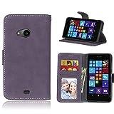pinlu® Hohe Qualität Retro Scrub PU Leder Etui Schutzhülle Für Nokia Microsoft Lumia 535 Lederhülle Flip Cover Brieftasche Mit Stand Function Innenschlitzen Design Lila
