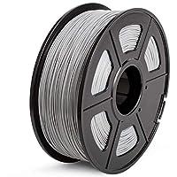 SUNLU ABS 3Dプリンターフィラメント、ABSフィラメント1.75 mm、3D印刷フィラメント3Dプリンターと3Dペン用の低臭気寸法精度+/- 0.02 mm、2.2 LBS(1KG)スプール3Dフィラメント、グレーABS