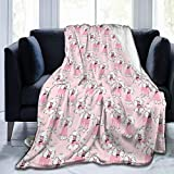Yulimin Pink Poodle Dog Cute Art Full Fleece Throw Cloak Wearable Blanket Nursery Bedroom Bedding Decor Decorations Queen King Size Flannel Fluffy Plush Soft Cozy Comforter Quilt
