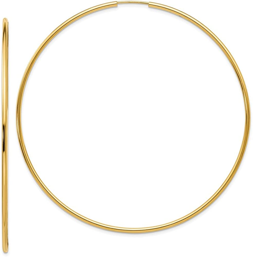 14k Yellow Gold Endless Hoop Earrings Ear Hoops Set Round Fine Jewelry For Women Gifts For Her