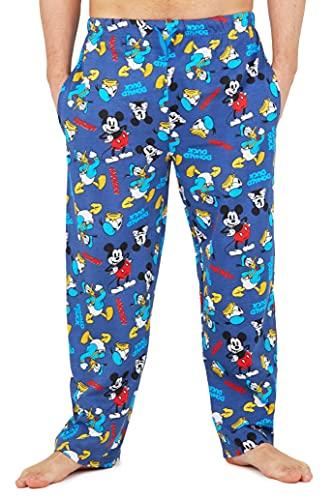 Disney Schlafanzughose Herren Lang, Schlafanzug Herren Lang Pyjamahose, Mickey Mouse und Donald Duck, S-3XL (Blau, L)