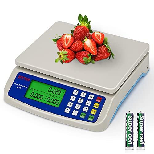 RUJIXU Bilancia digitale da cucina 10-30kg/1g Bilancia da Cucina Elettronica Precisione con Funzione PCS Tare Plastica ABS Display LCD Peso Cucina bilance