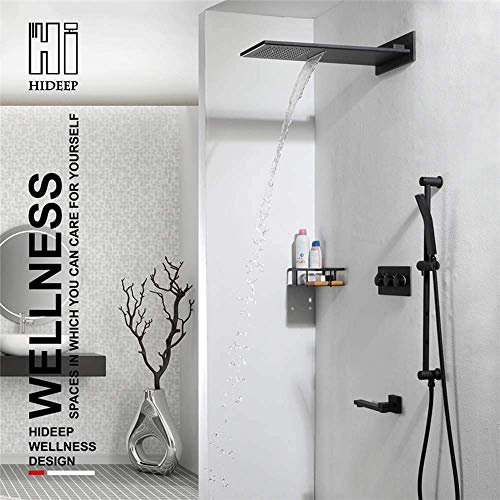 Best Buy! HYY-YY Black Concealed Shower Wall-Mounted Copper Hot and Cold Flying Rain Lift Bar Shower...