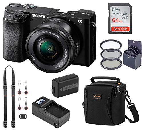 Sony Alpha a6100 Mirrorless Digital Camera, with 16-50mm Lens (Black) Bundle with Neck Strap, Battery, Charger, and Accessories