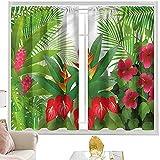 Cortinas de bloqueo de luz, hojas, jengibre y flores de Anthurium W52 x L95 pulgadas cortinas opacas con bolsillo para barra