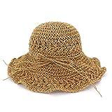 Ocio, hecho a mano, moda Sombrero de cubo de paja for mujer Señora Moda Crochet Robusto Casual Corbata de verano Sombrero de playa Sombrero de sol de vacaciones junto al mar Para las mujeres de señora