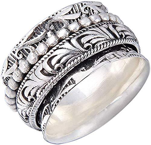 Energy Stone Danza - Anello girevole di meditazione in argento sterling (modello UK61)