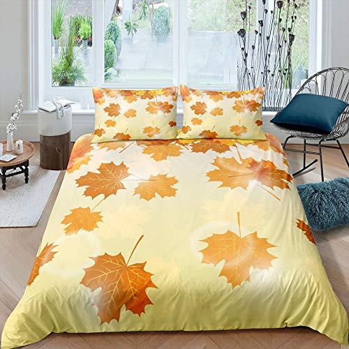 Gelb Orange Bettwäsche-Set Blätter Blatt Bettwäsche Set 200x200cm Ahorn Betten Set für Kinder Jungen Mädchen Teenager 3St, Reißverschluss Mikrofaser