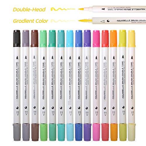 WCOCOW Pendenza Aquarelle Dual Brush Pen Colored Art pennarelli 14 pezzi 28 colori – perfette per album da colorare per adulti, manga, fumetti, calligrafia